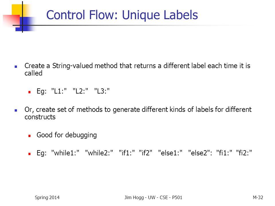Spring 2014Jim Hogg - UW - CSE - P501M-32 Control Flow: Unique Labels Create a String-valued method that returns a different label each time it is cal