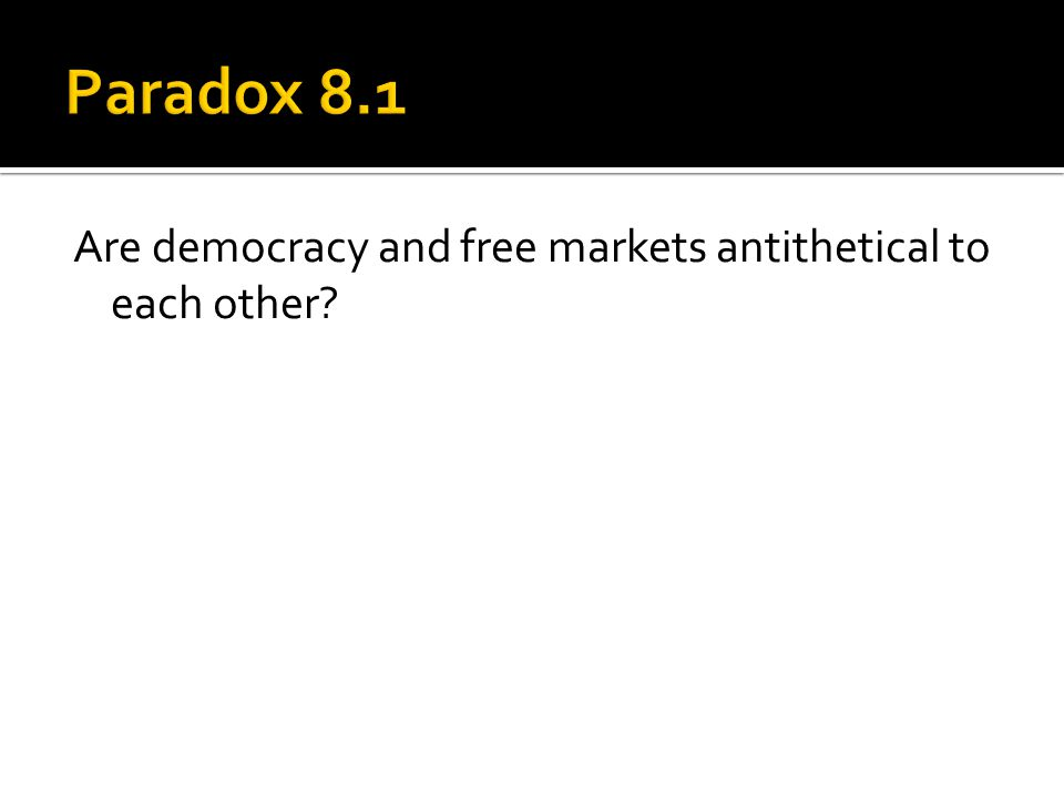 Are democracy and free markets antithetical to each other?
