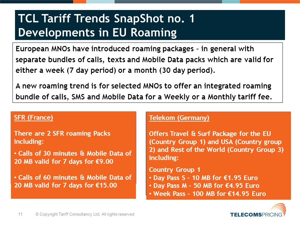11 © Copyright Tariff Consultancy Ltd. All rights reserved TCL Tariff Trends SnapShot no.