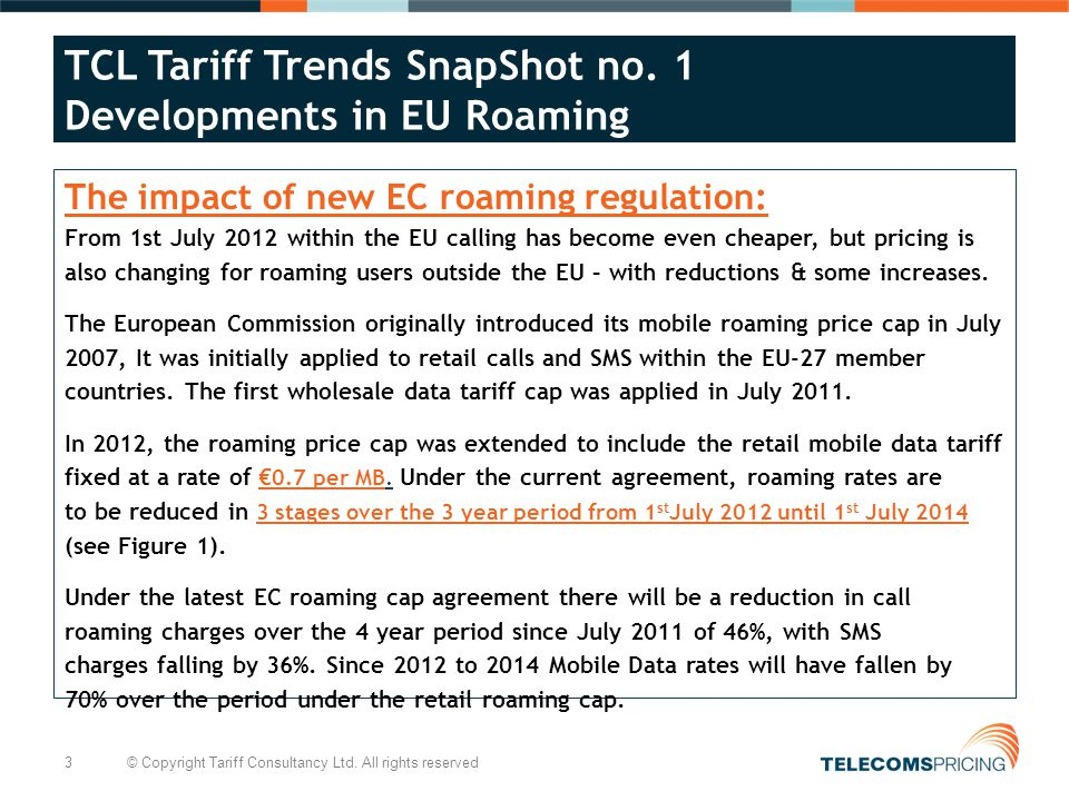 3 © Copyright Tariff Consultancy Ltd. All rights reserved TCL Tariff Trends SnapShot no.