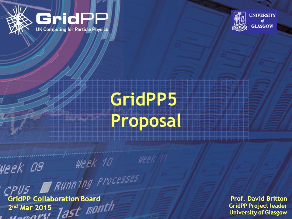 Slide Context A GridPP5 proposal was prepared and submitted to a strategic review committee a year ago.
