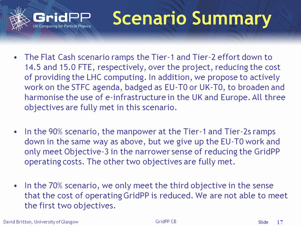 Slide Scenario Summary The Flat Cash scenario ramps the Tier-1 and Tier-2 effort down to 14.5 and 15.0 FTE, respectively, over the project, reducing the cost of providing the LHC computing.