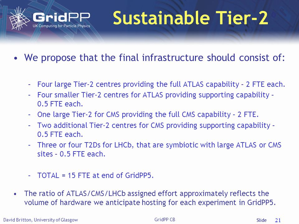 Slide Sustainable Tier-2 We propose that the final infrastructure should consist of: –Four large Tier-2 centres providing the full ATLAS capability – 2 FTE each.