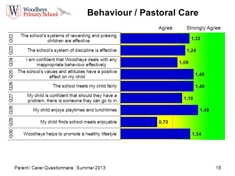 15 Behaviour / Pastoral Care Parent / Carer Questionnaire : Summer 2013 AgreeStrongly Agree