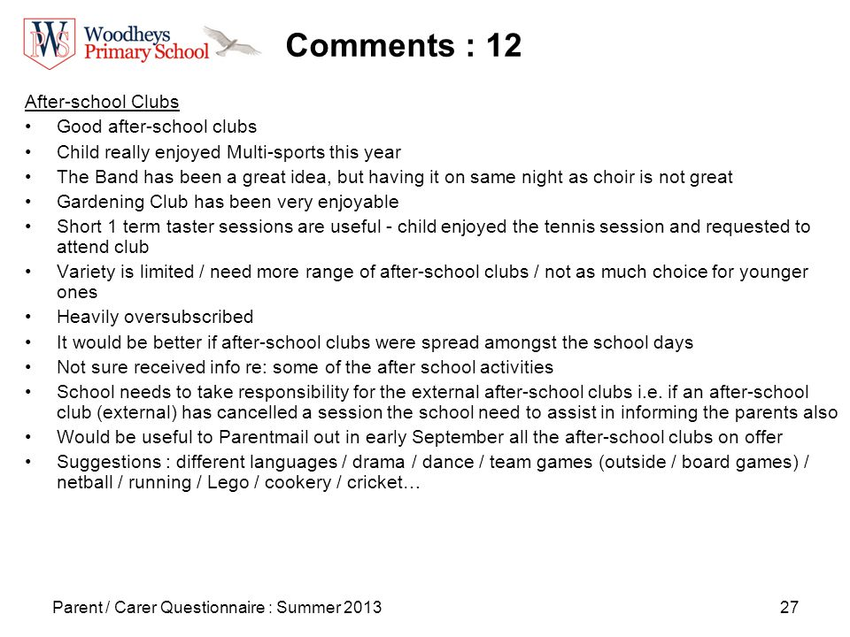 27 Comments : 12 After-school Clubs Good after-school clubs Child really enjoyed Multi-sports this year The Band has been a great idea, but having it on same night as choir is not great Gardening Club has been very enjoyable Short 1 term taster sessions are useful - child enjoyed the tennis session and requested to attend club Variety is limited / need more range of after-school clubs / not as much choice for younger ones Heavily oversubscribed It would be better if after-school clubs were spread amongst the school days Not sure received info re: some of the after school activities School needs to take responsibility for the external after-school clubs i.e.