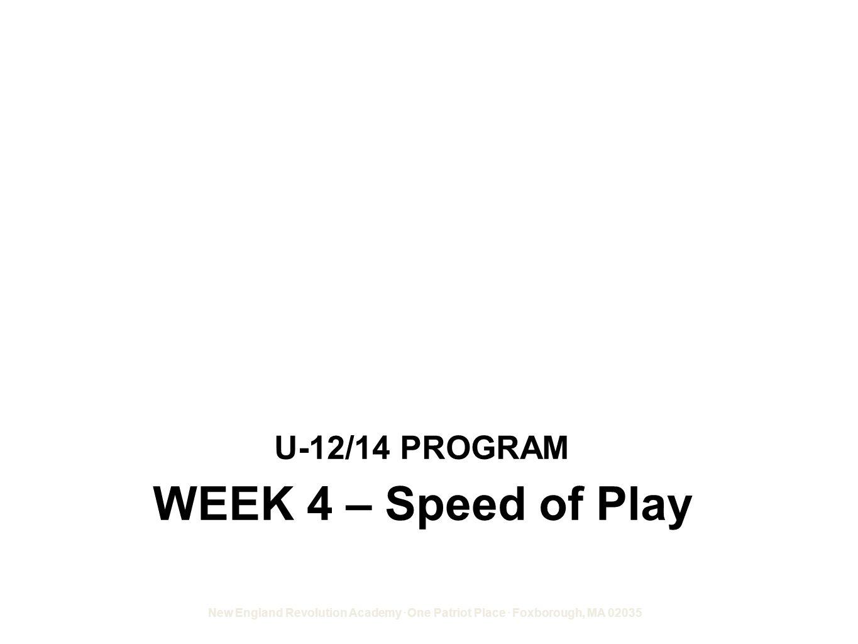 U-12/14 PROGRAM WEEK 4 – Speed of Play