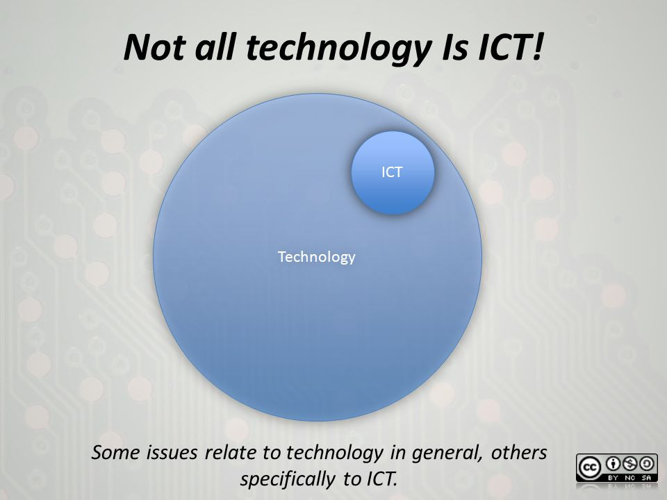 Not all technology Is ICT! Technology ICT Some issues relate to technology in general, others specifically to ICT.