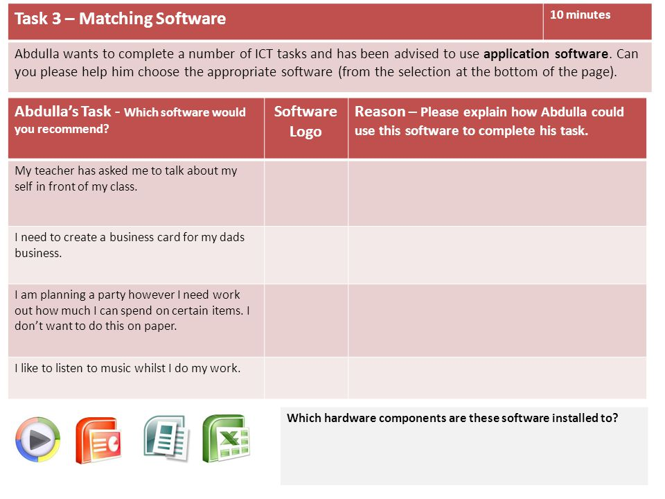Task 3 – Matching Software 10 minutes Abdulla wants to complete a number of ICT tasks and has been advised to use application software.