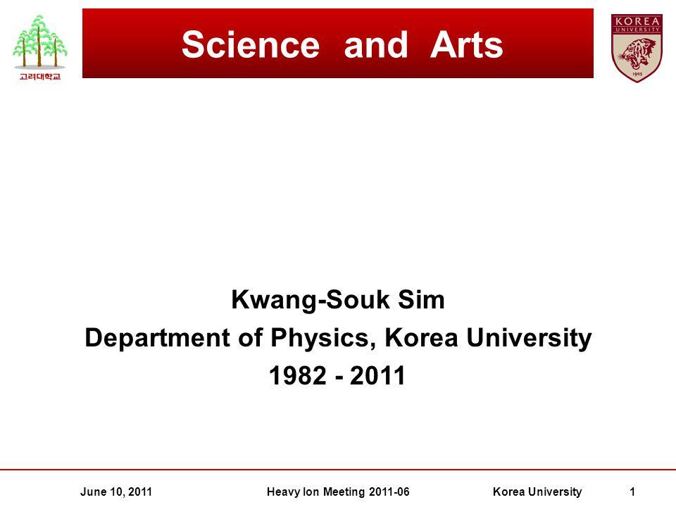 Kwang-Souk Sim Department of Physics, Korea University 1982 - 2011 Science and Arts June 10, 2011Korea University 1Heavy Ion Meeting 2011-06