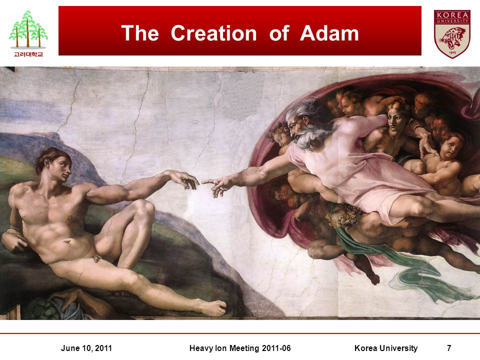 June 10, 2011Heavy Ion Meeting 2011-06Korea University 7 The Creation of Adam