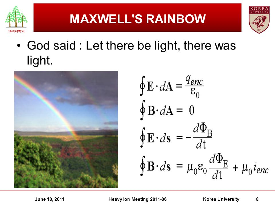 June 10, 2011Heavy Ion Meeting 2011-06Korea University 8 MAXWELL S RAINBOW God said : Let there be light, there was light.