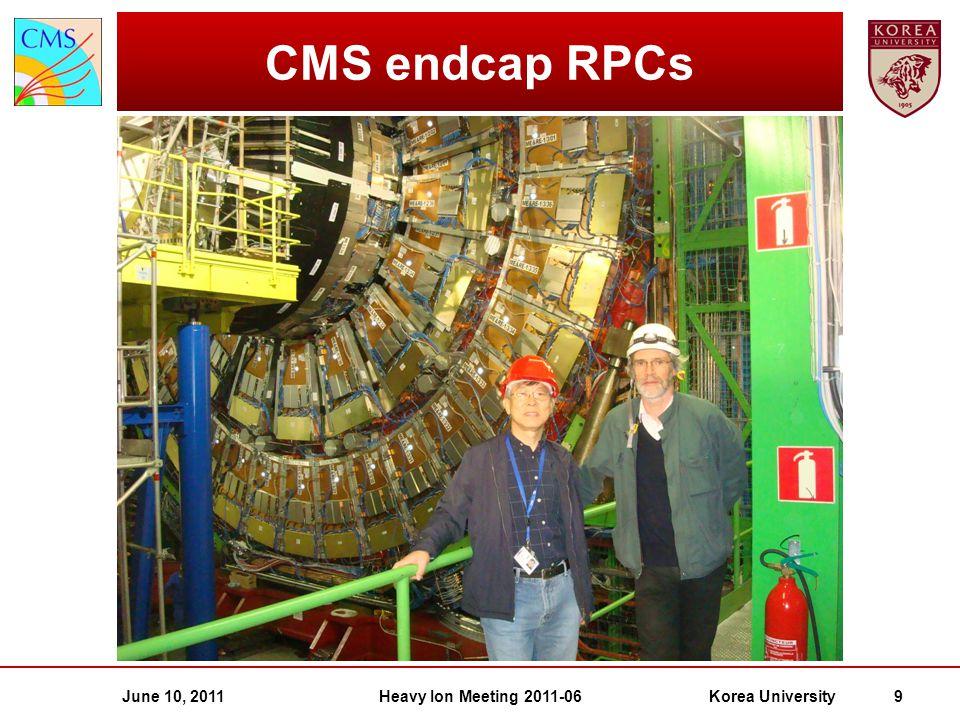 June 10, 2011Heavy Ion Meeting 2011-06Korea University 9 CMS endcap RPCs