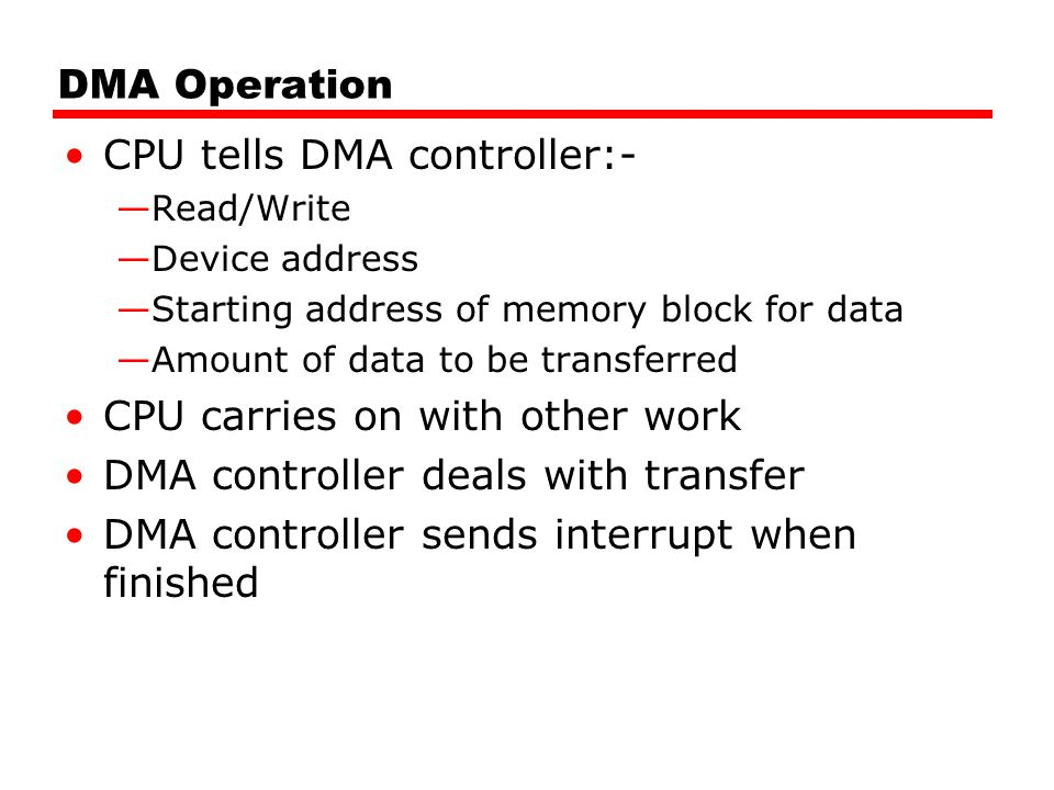 DMA Operation CPU tells DMA controller:- —Read/Write —Device address —Starting address of memory block for data —Amount of data to be transferred CPU