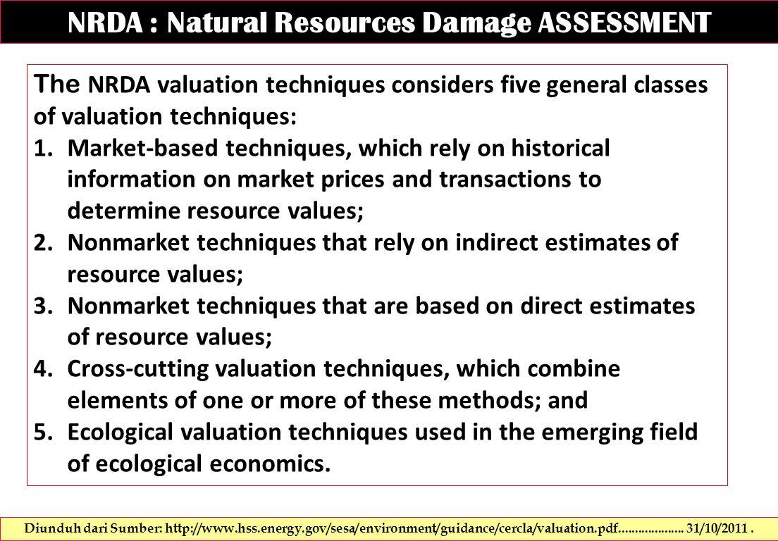 NRDA : Natural Resources Damage ASSESSMENT Diunduh dari Sumber: http://www.hss.energy.gov/sesa/environment/guidance/cercla/valuation.pdf....................