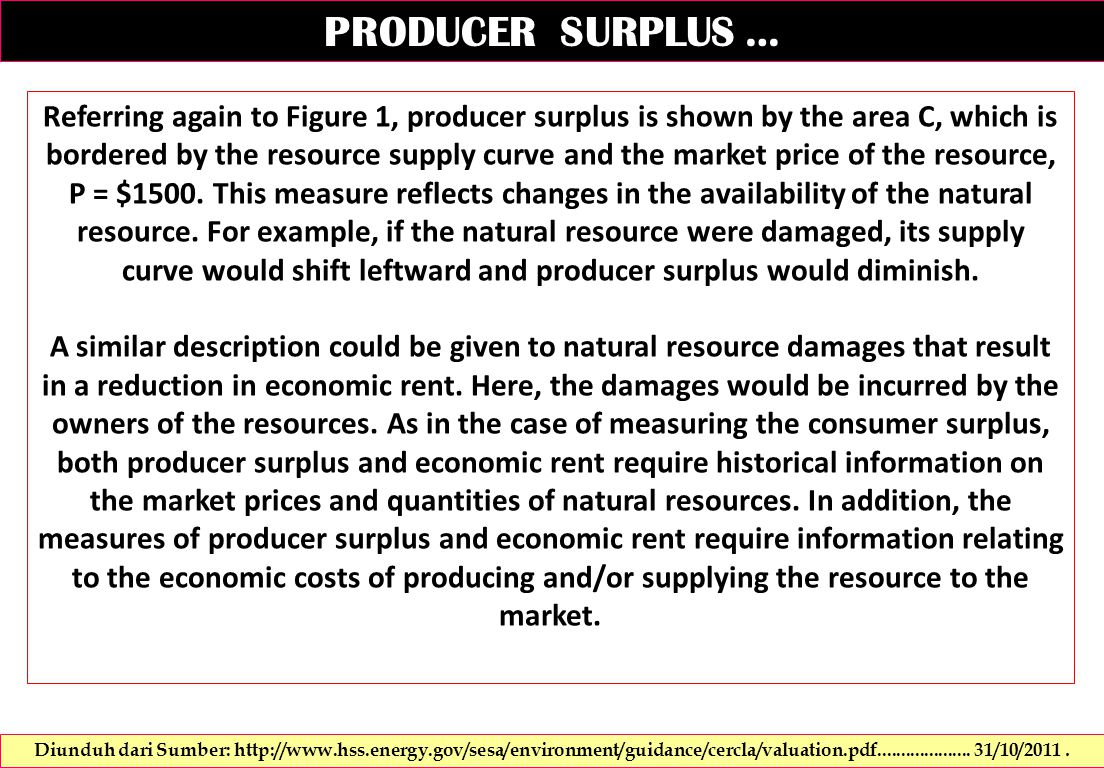 Referring again to Figure 1, producer surplus is shown by the area C, which is bordered by the resource supply curve and the market price of the resource, P = $1500.