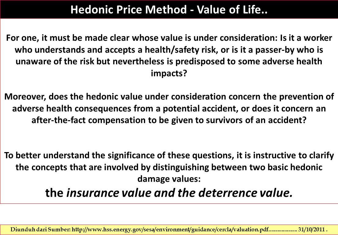 Hedonic Price Method - Value of Life..