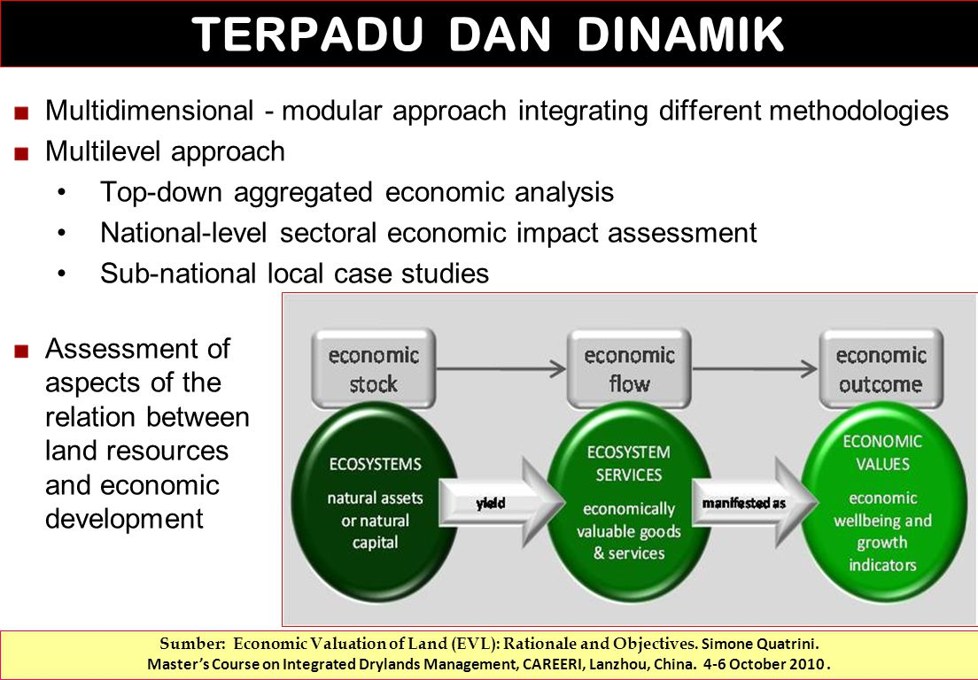 Multidimensional - modular approach integrating different methodologies Multilevel approach Top-down aggregated economic analysis National-level sectoral economic impact assessment Sub-national local case studies Assessment of aspects of the relation between land resources and economic development TERPADU DAN DINAMIK Sumber: Economic Valuation of Land (EVL): Rationale and Objectives.