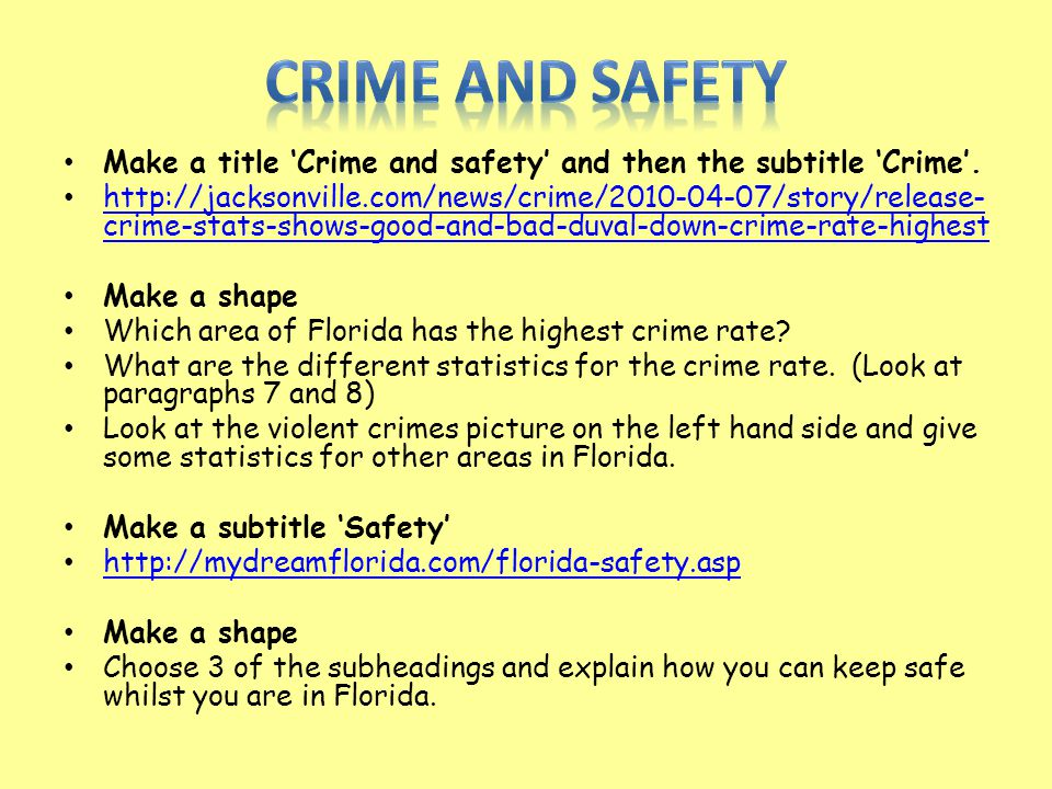 Make a title 'Crime and safety' and then the subtitle 'Crime'. http://jacksonville.com/news/crime/2010-04-07/story/release- crime-stats-shows-good-and