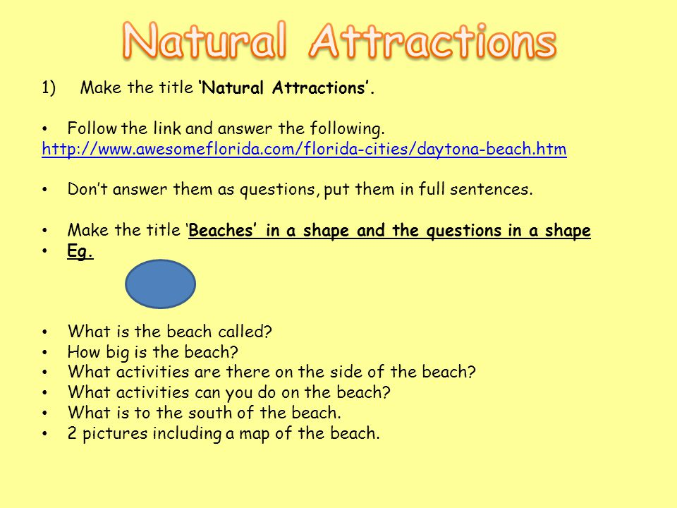 1)Make the title 'Natural Attractions'. Follow the link and answer the following. http://www.awesomeflorida.com/florida-cities/daytona-beach.htm Don't