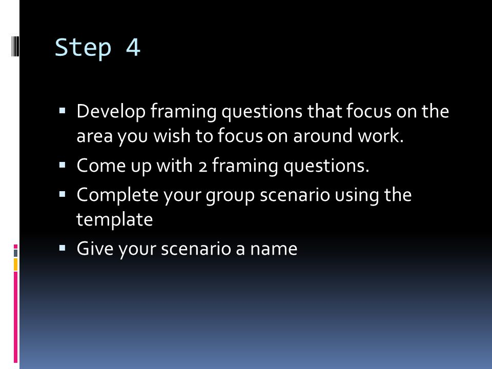 Step 4  Develop framing questions that focus on the area you wish to focus on around work.  Come up with 2 framing questions.  Complete your group