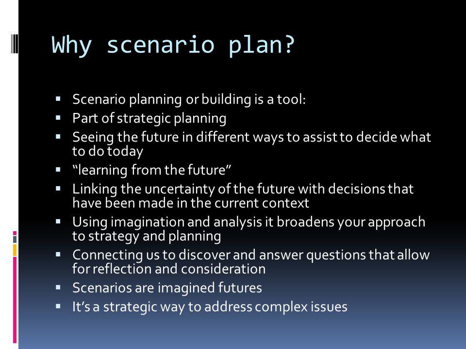 Why scenario plan.