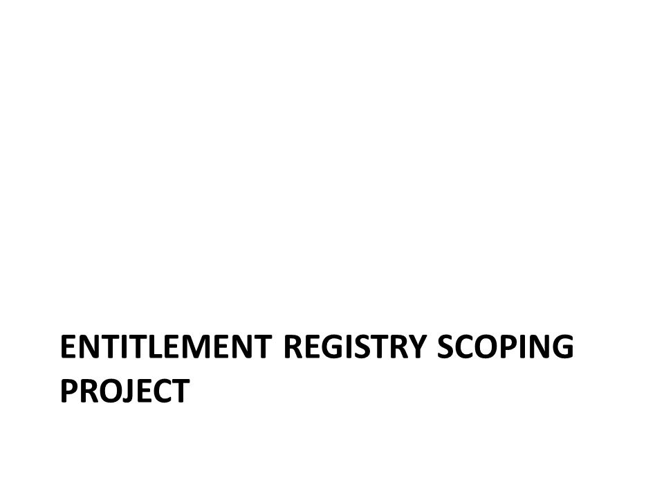 ENTITLEMENT REGISTRY SCOPING PROJECT
