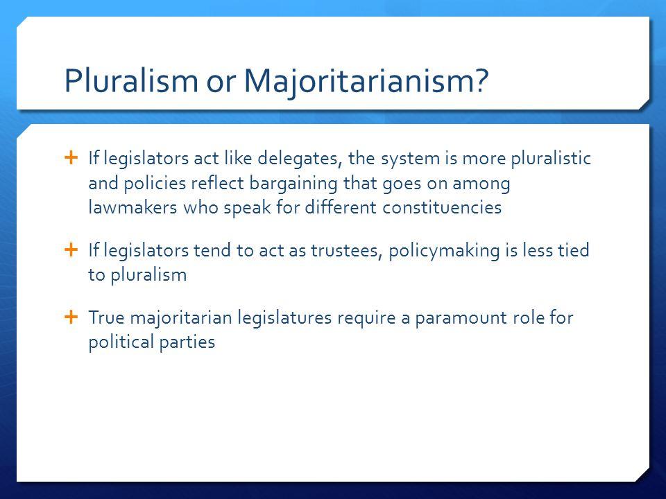 Pluralism or Majoritarianism.