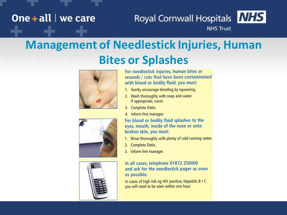 Management of Needlestick Injuries, Human Bites or Splashes