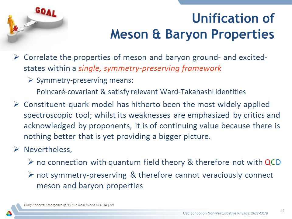 Unification of Meson & Baryon Properties  Correlate the properties of meson and baryon ground- and excited- states within a single, symmetry-preserving framework  Symmetry-preserving means: Poincaré-covariant & satisfy relevant Ward-Takahashi identities  Constituent-quark model has hitherto been the most widely applied spectroscopic tool; whilst its weaknesses are emphasized by critics and acknowledged by proponents, it is of continuing value because there is nothing better that is yet providing a bigger picture.