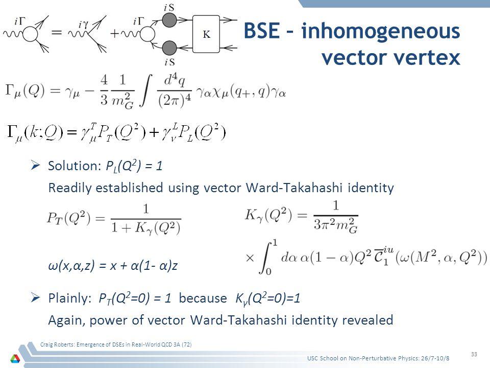 BSE – inhomogeneous vector vertex  Solution: P L (Q 2 ) = 1 Readily established using vector Ward-Takahashi identity USC School on Non-Perturbative Physics: 26/7-10/8 Craig Roberts: Emergence of DSEs in Real-World QCD 3A (72) 33 ω(x,α,z) = x + α(1- α)z  Plainly: P T (Q 2 =0) = 1 because K γ (Q 2 =0)=1 Again, power of vector Ward-Takahashi identity revealed