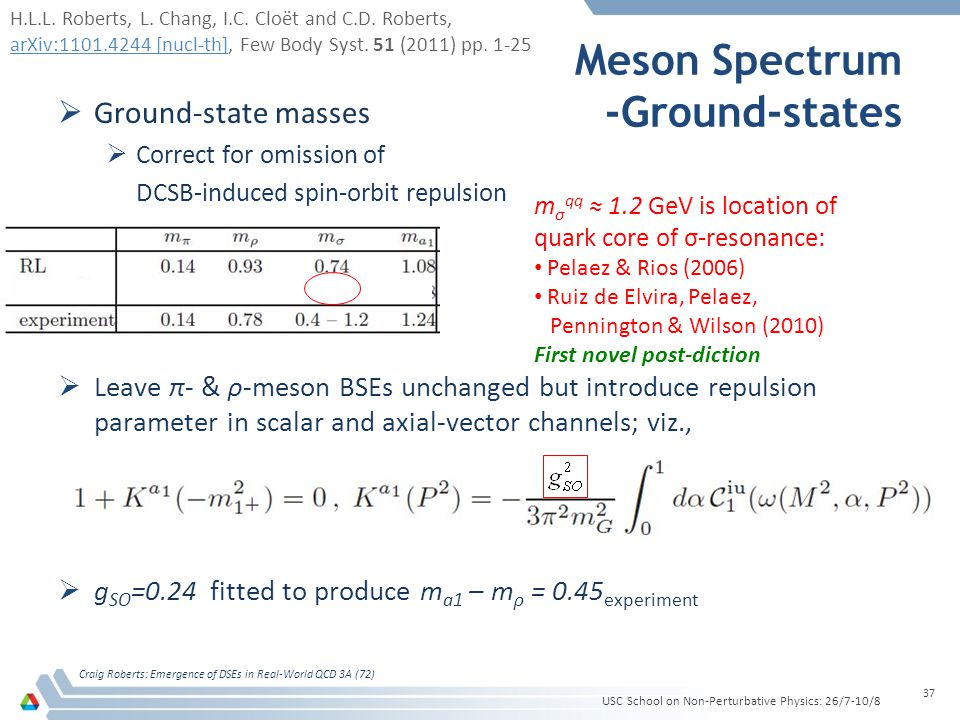 Meson Spectrum -Ground-states  Ground-state masses  Correct for omission of DCSB-induced spin-orbit repulsion  Leave π- & ρ-meson BSEs unchanged but introduce repulsion parameter in scalar and axial-vector channels; viz.,  g SO =0.24 fitted to produce m a1 – m ρ = 0.45 experiment USC School on Non-Perturbative Physics: 26/7-10/8 Craig Roberts: Emergence of DSEs in Real-World QCD 3A (72) 37 m σ qq ≈ 1.2 GeV is location of quark core of σ-resonance: Pelaez & Rios (2006) Ruiz de Elvira, Pelaez, Pennington & Wilson (2010) First novel post-diction H.L.L.