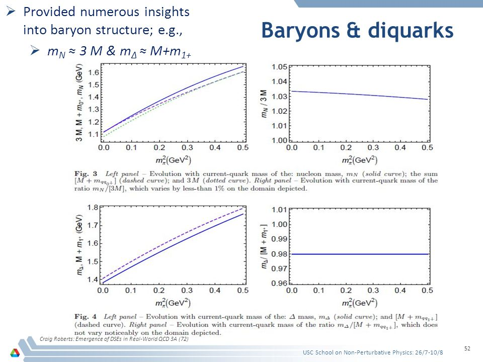 Baryons & diquarks Craig Roberts: Emergence of DSEs in Real-World QCD 3A (72) 52  Provided numerous insights into baryon structure; e.g.,  m N ≈ 3 M