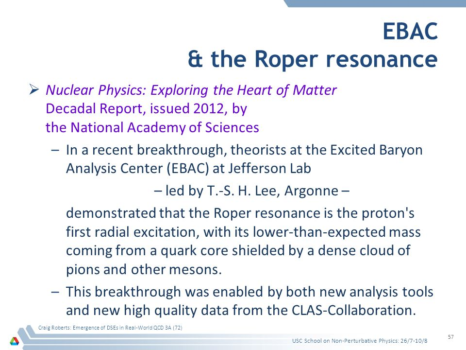EBAC & the Roper resonance  Nuclear Physics: Exploring the Heart of Matter Decadal Report, issued 2012, by the National Academy of Sciences –In a rec