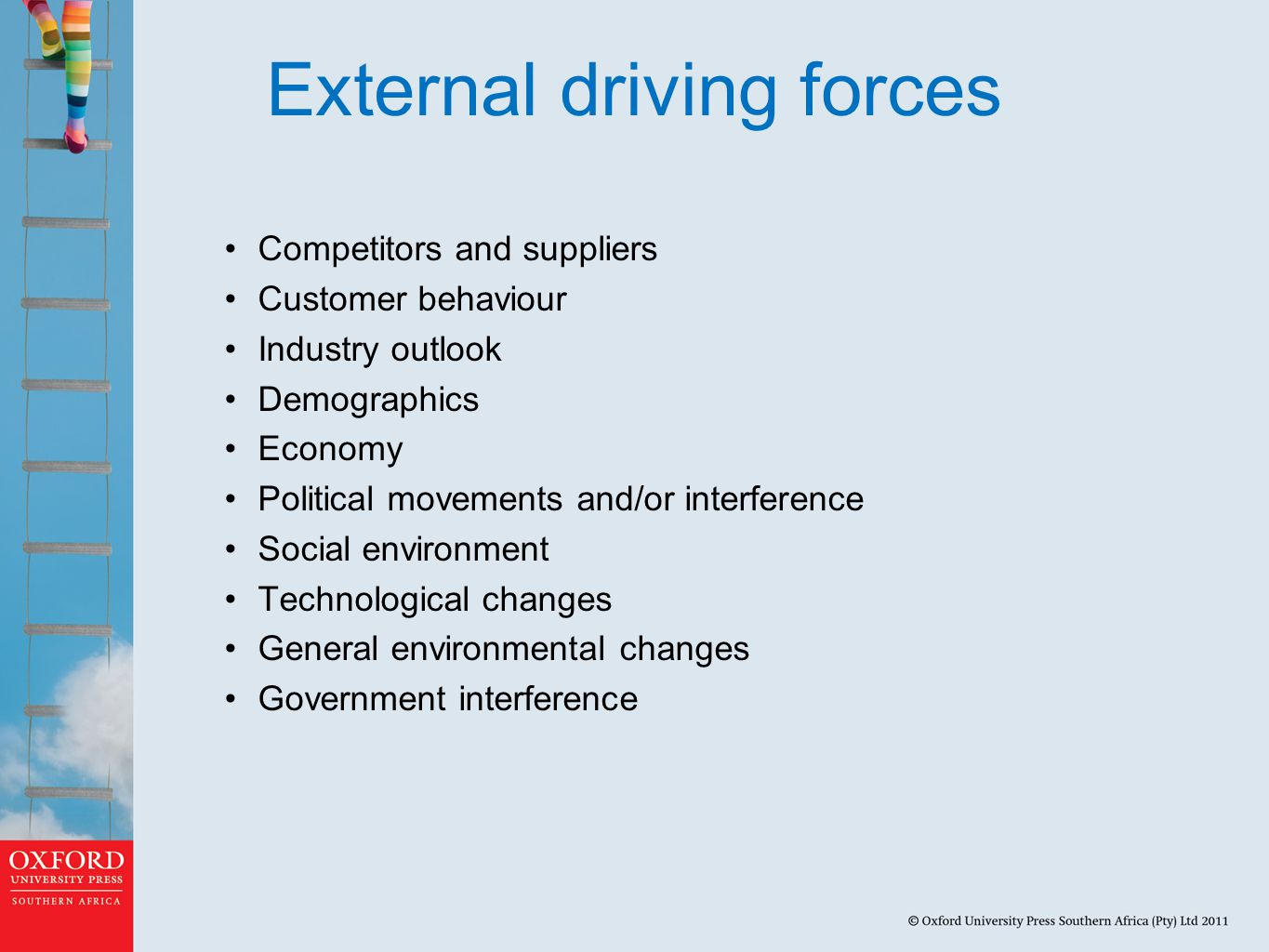 External driving forces Competitors and suppliers Customer behaviour Industry outlook Demographics Economy Political movements and/or interference Social environment Technological changes General environmental changes Government interference