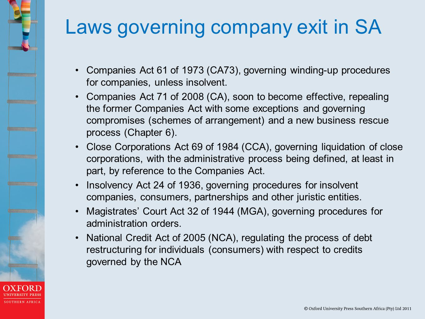 Laws governing company exit in SA Companies Act 61 of 1973 (CA73), governing winding-up procedures for companies, unless insolvent.