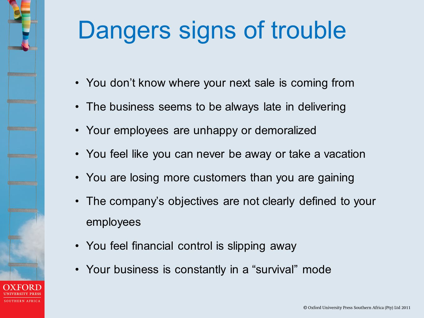 Stages in business failure Decline: A business is in decline when its performance and operations slows down over consecutive periods and it experiences distress in continuing operations Failure: A business fails when it involuntarily becomes unable to attract new debt or equity funding to reverse the decline process; consequently, it cannot continue to operate under the current ownership and management Turnaround: Turnaround occurs when a business has been able to recover from the decline stage which threatened its existence in such a way that it is able to resume normal operations and achieve performance acceptable to its stakeholders