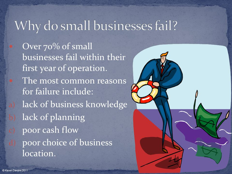 Over 70% of small businesses fail within their first year of operation.