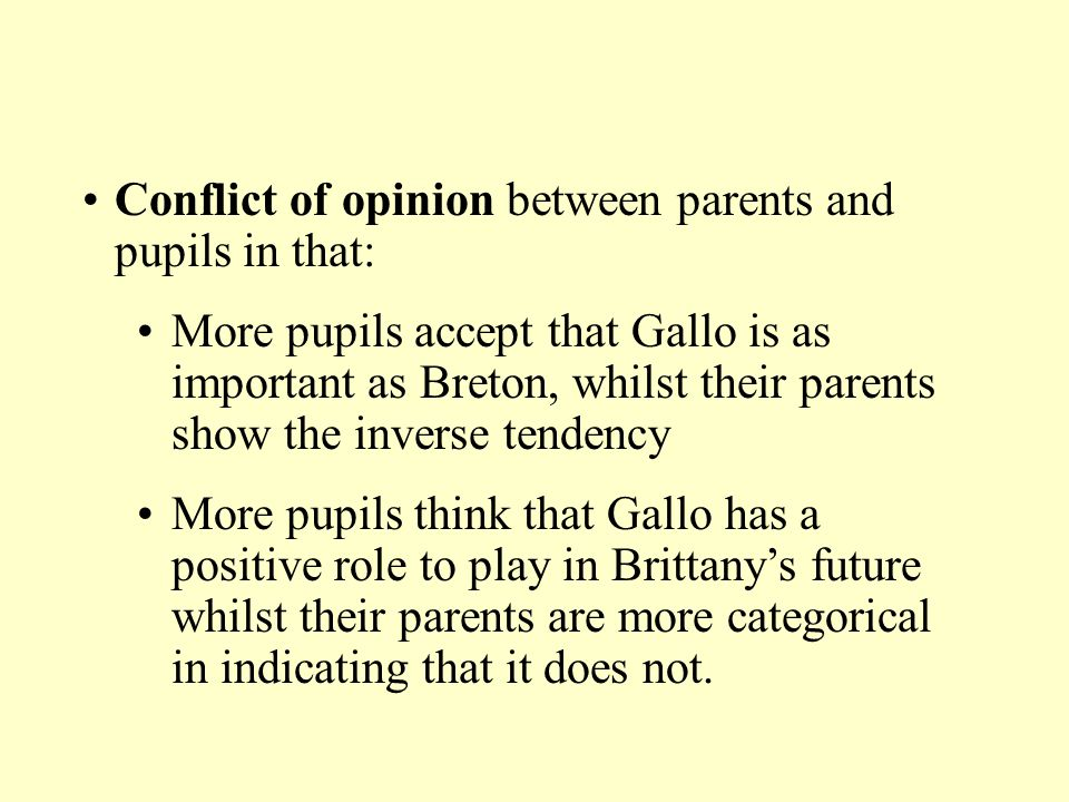 Conflict of opinion between parents and pupils in that: More pupils accept that Gallo is as important as Breton, whilst their parents show the inverse
