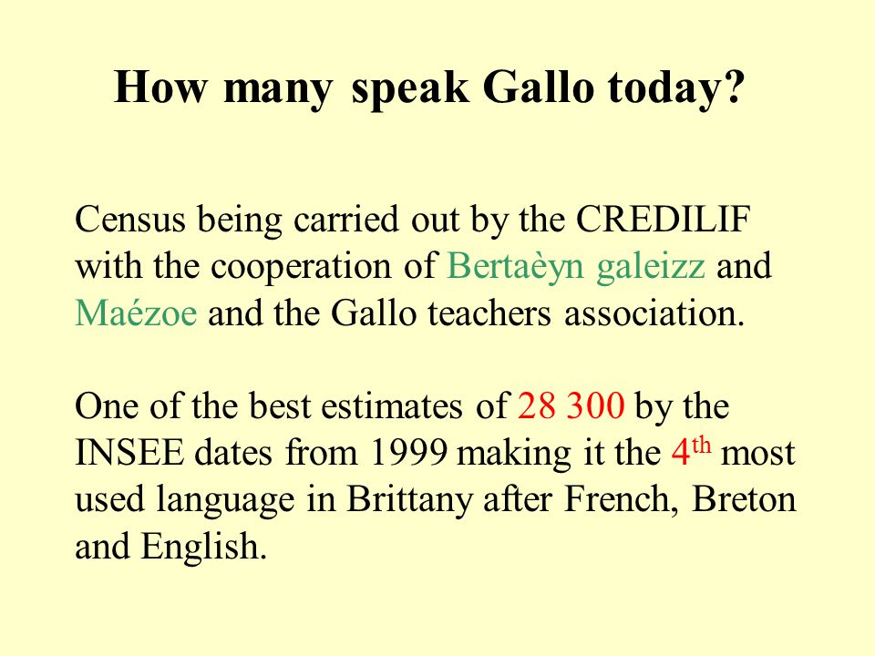 How many speak Gallo today? Census being carried out by the CREDILIF with the cooperation of Bertaèyn galeizz and Maézoe and the Gallo teachers associ