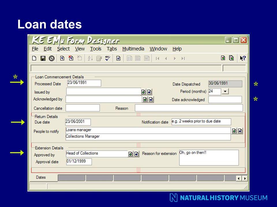Loan dates * * *