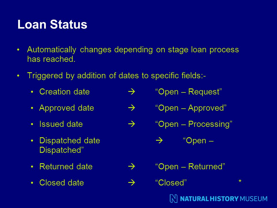 Loan Status Automatically changes depending on stage loan process has reached.