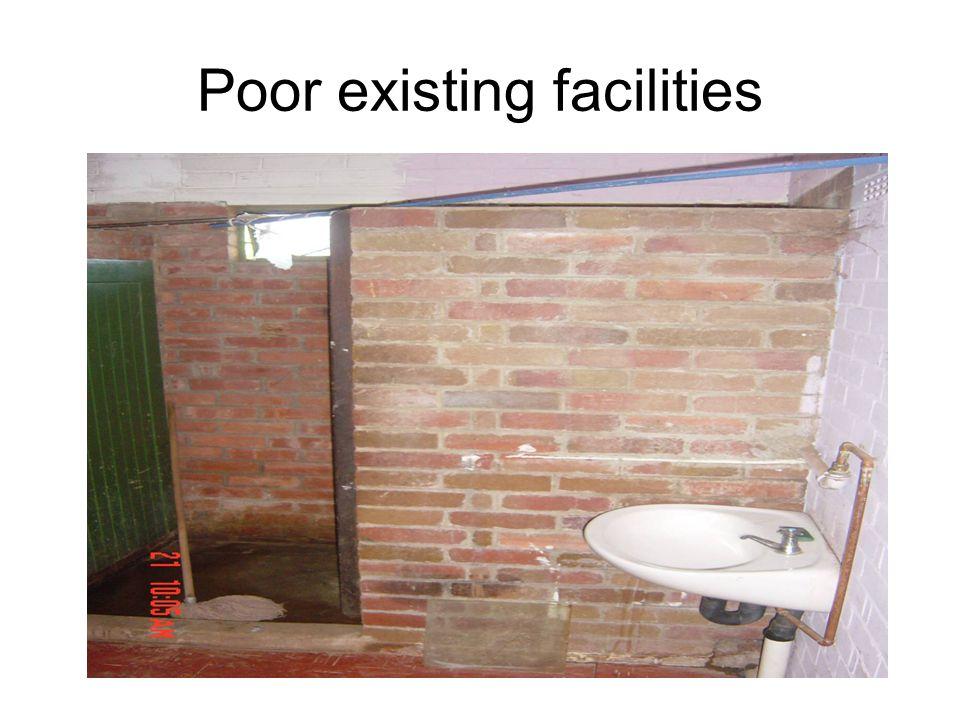 Poor existing facilities
