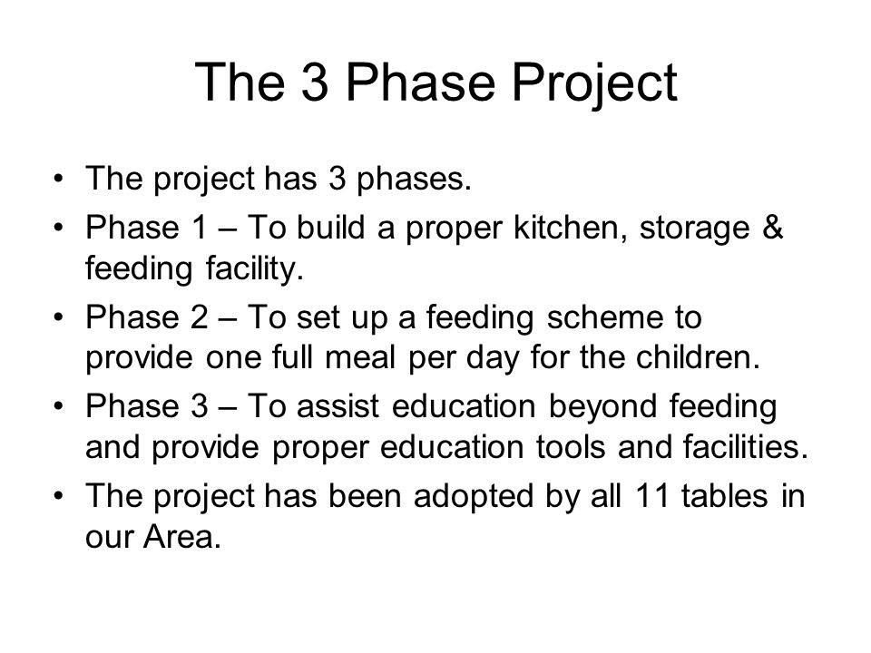 Phase 1 The building of a proper facility to store and prepare meals for the students.