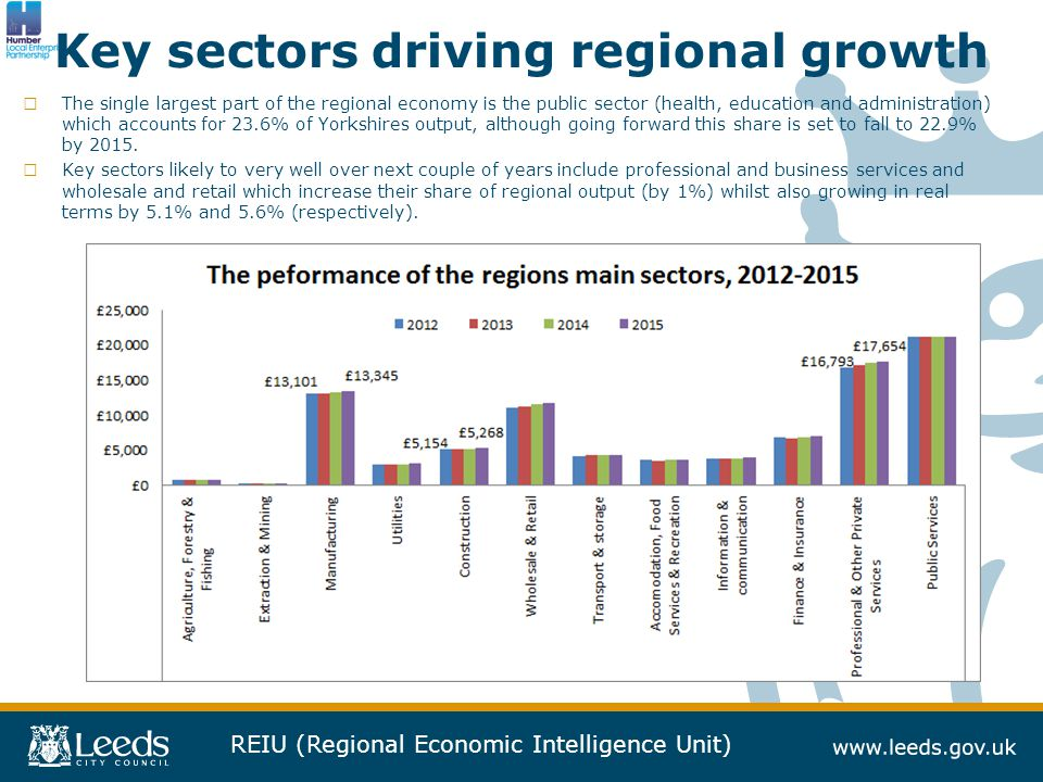 REIU (Regional Economic Intelligence Unit) Key sectors driving regional growth □ The single largest part of the regional economy is the public sector (health, education and administration) which accounts for 23.6% of Yorkshires output, although going forward this share is set to fall to 22.9% by 2015.