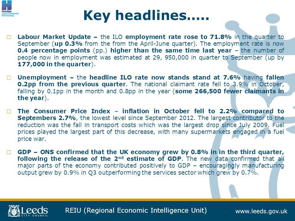 REIU (Regional Economic Intelligence Unit) Key headlines…..
