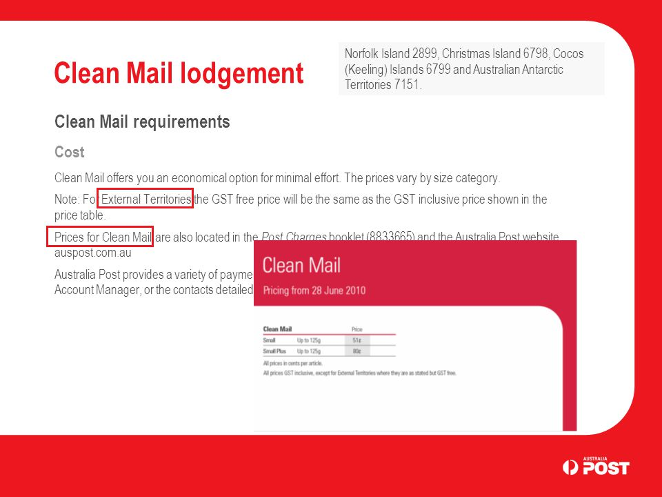 Clean Mail lodgement Clean Mail requirements Cost Clean Mail offers you an economical option for minimal effort.