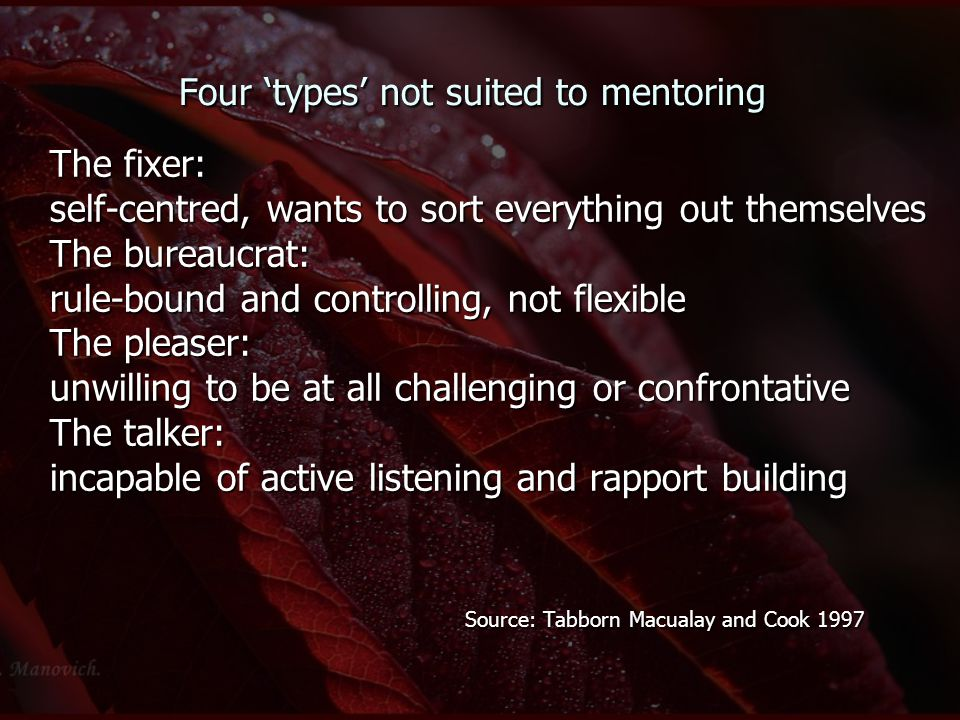 Four 'types' not suited to mentoring The fixer: self-centred, wants to sort everything out themselves The bureaucrat: rule-bound and controlling, not
