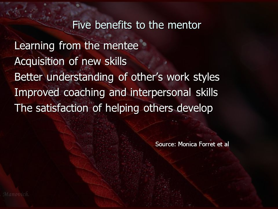Five benefits to the mentor Learning from the mentee Acquisition of new skills Better understanding of other's work styles Improved coaching and inter