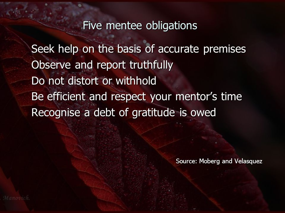 Five mentee obligations Seek help on the basis of accurate premises Observe and report truthfully Do not distort or withhold Be efficient and respect