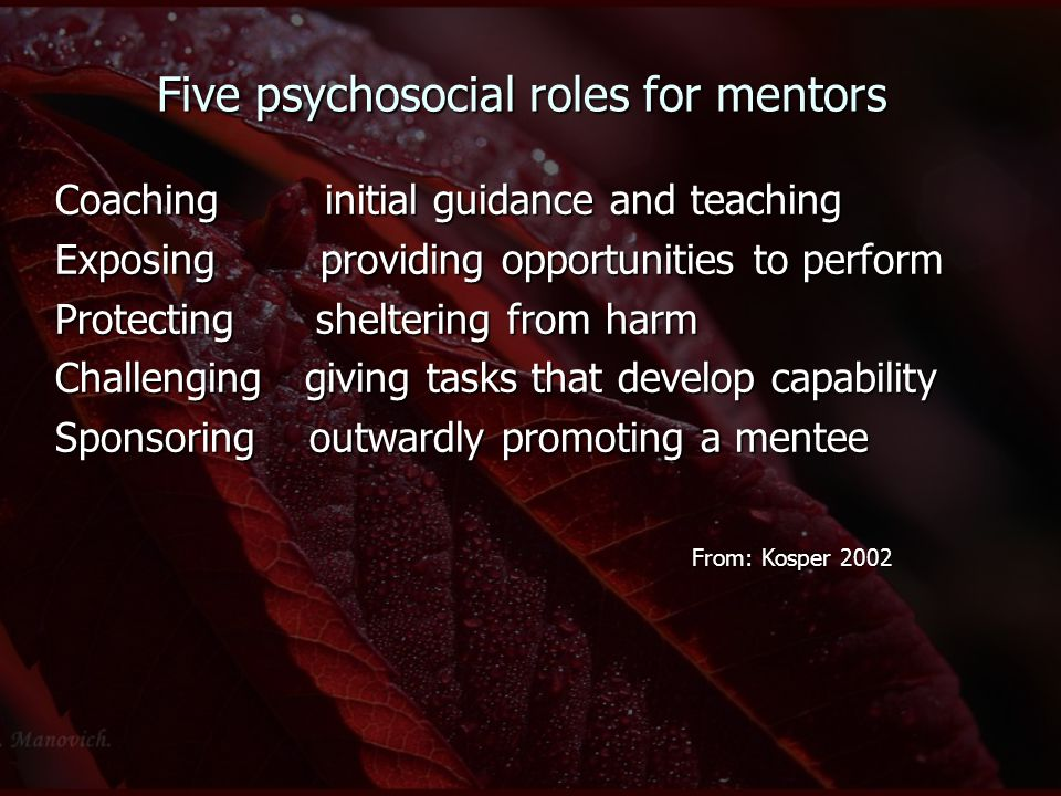 Five psychosocial roles for mentors Coaching initial guidance and teaching Exposing providing opportunities to perform Protecting sheltering from harm Challenging giving tasks that develop capability Sponsoring outwardly promoting a mentee From: Kosper 2002 From: Kosper 2002